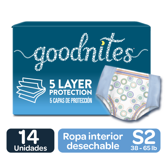 Pañales Huggies Goodnites Unisex Size S/M; 14 uds