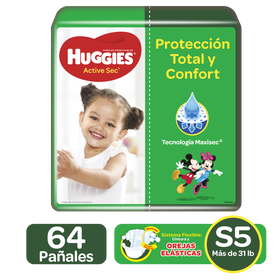 Pañales Huggies Active Sec Size 5; 64uds