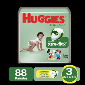 Pañales Huggies Active Sec Size 3; 88uds