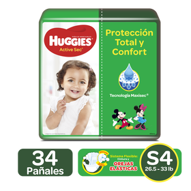 Pañales Huggies Active Sec Size 4; 34uds