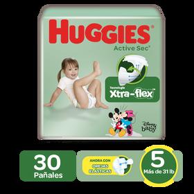 Pañales Huggies Active Sec Size 5; 30uds